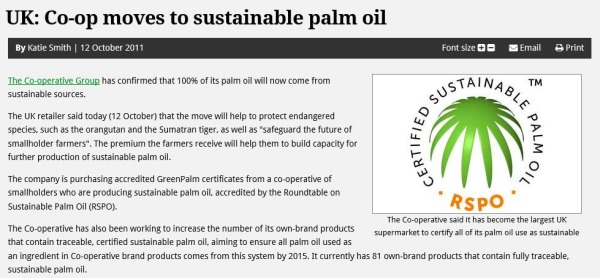 Co-op certified Palm Oil article