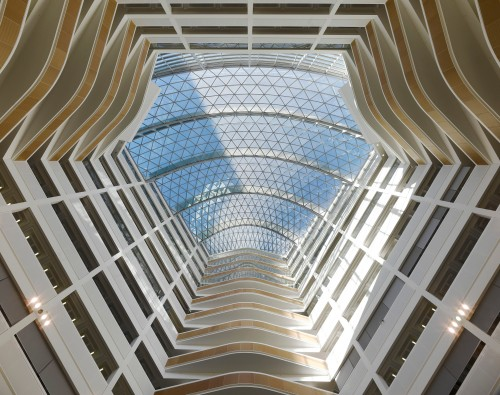 Looking up in One Angel Square Atrium