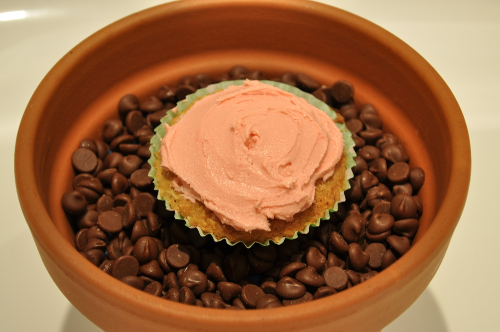 Sprout cake with pink icing