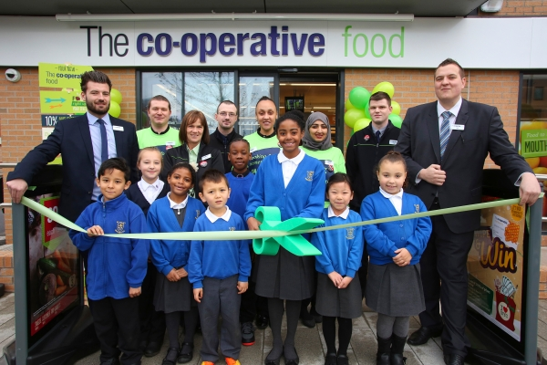 Re-opening of the Co-Op store on Birley Fields Campus. Hulme, Manchester.