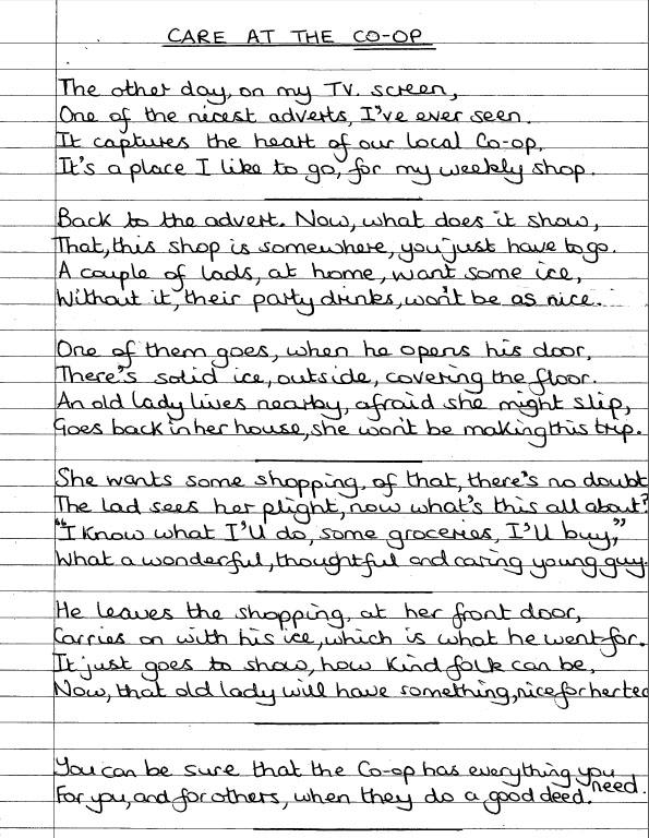 Poem by Mrs Ingham in Lancashire