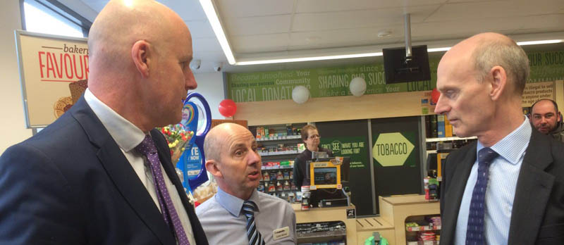 Richard Pennycook visiting The co-operative Food store in Buckfastleigh
