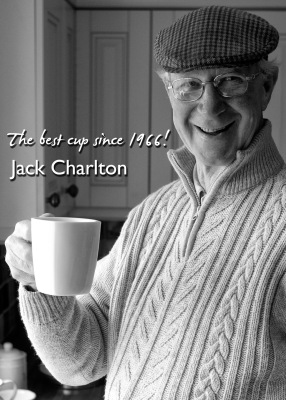 Photo of Jack Charlton OBE featured on Northumberland Tea bags packaging