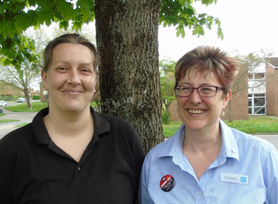 Photo of Kym Collins, Co-op Member and Michelle Benton, Co-op Magic Award winner
